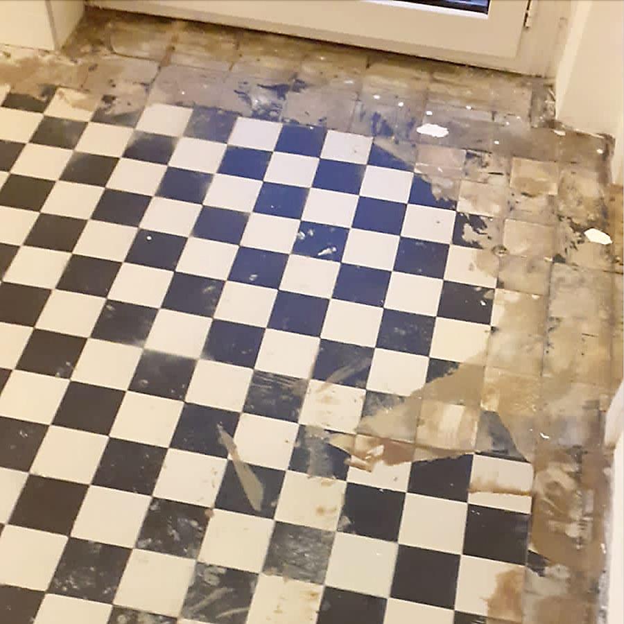 Steinboden-Sanierung in der Küche